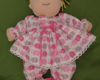 """Doll Clothes for Baby Stella flannel footed pajamas,Baby Stella,doll clothes,doll,hand made,doll clothing,jammies,p.j.s,flannel,15"""" Stella"""