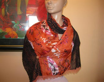 """scarf/scarf for women - lace and silk - model """"sonia"""""""