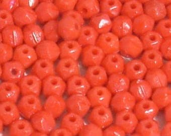 50 red 4mm faceted glass beads