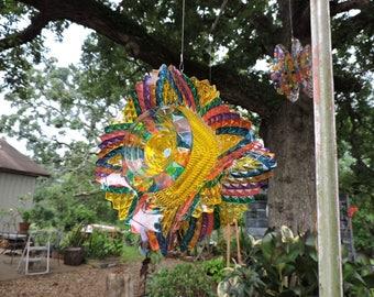 Glass Flower Spinner (RS72)   Hand Painted   Suncatcher   Yard Art    Recycled