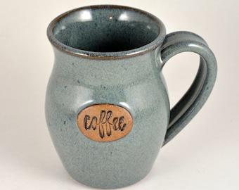 Pottery Mug Ceramic Coffee Cup 12 oz. Handmade Wheel Thrown Stoneware Blue