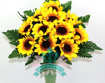 Gorgeous Fall Sunflowers Cemetery Arrangement For Mausoleum