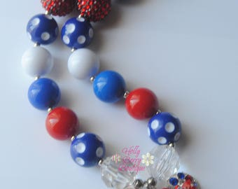 Minnie Mouse 4th of July Inspired Bubblegum Chunky Bead Necklace