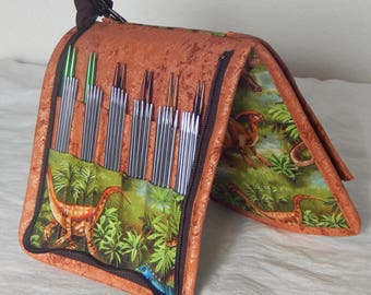 24 pair capacity Interchangeable and DPN knitting needle and crochet hook keeper case sized to hold up to US 11 Dinosaurs