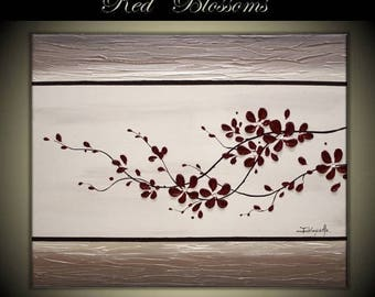 "4th of July sale Original Modern Art  Painting on Gallery wrapped Canvas 30"" x 24"", Home Decor, Wall Art -- Red Blossoms---"