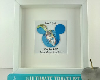 Framed Mickey Mouse map   wedding engagement and anniversary gifts   personalised gift