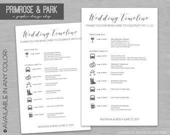 Wedding Timeline Cards Printed // Wedding Weekend Itinerary // Wedding Schedule of Events //Wedding Weekend Bag