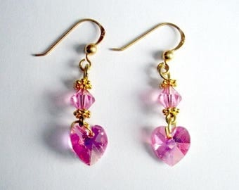 Earrings in gold and pink crystal
