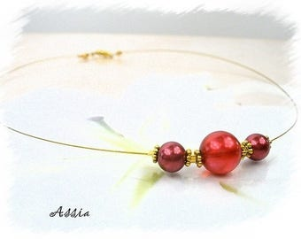 Wedding/ceremony Choker necklace in red Pearl glass beads
