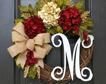 Fall Wreath,Hydrangea Wreath,Year Round Wreath,Front Door Wreath,Grapevine Wreath,Summer Wreath,Housewarming Gift,Burgundy,Farmhouse Wreath