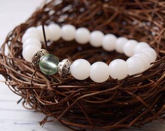 Women's Handmade Light Green Sea Glass Beaded Bracelet | Sea Glass Jewelry | Green Sea Glass Bracelet | Beaded Bracelet | Jewelry Gifts