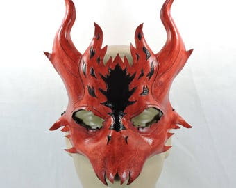 Dragon Mask - Red & Black - Leather Demon with Horns LARP Cosplay costume