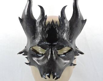 Leather Dragon Mask - Grey & Black - Drake, Demon, LARP, Halloween