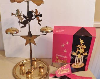 VINTAGE Christmas Swedish Angel Chimes brass giant in box