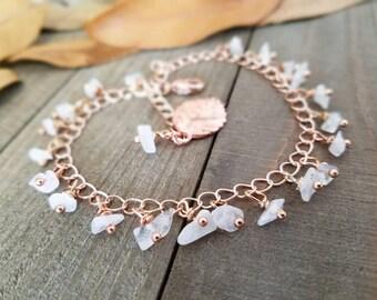 Boho anklet - Rose gold anklet - summer anklets - rainbow moonstone - rose gold jewelry - rose gold ankle bracelet - boho rose gold anklet