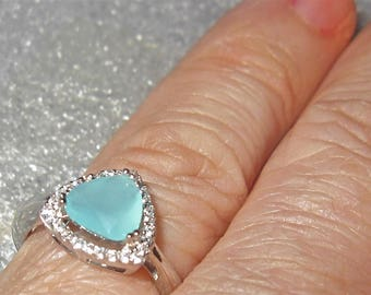 Faceted Aqua Chalcedony Sterling Silver Ring Size 6 1/2
