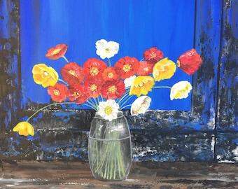 Poppy print, poppy painting, blue door painting, harvest moon flower farm, flower print, art print, wall art, poppy art, flower painting