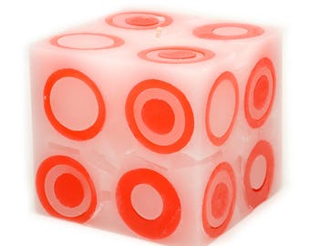 Cosmic Candles Red Super Ball Square Pillar Unscented 4x4