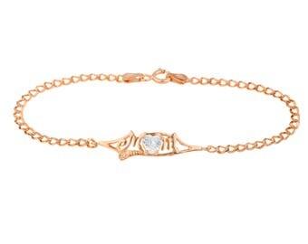 14Kt Rose Gold Plated White Sapphire & Diamond Heart Mom Bracelet