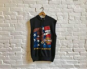 80s 90s Harley Davidson motorcycles eagle biker vintage short sleeve hoodie pull over sweatshirt sleeveless 50/50  men's large