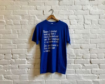 80s funny saying tshirt vintage paper thin 50/50 blue t shirt short sleeve tee size large