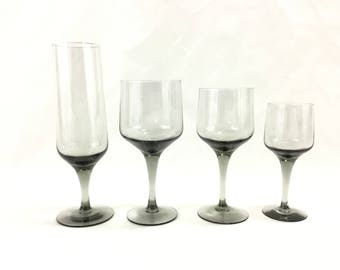 Vintage Orrefors Rhapsody Smoke Crystal Glassware * Champagne Claret or Sherry * Sets of 4 * Sven Palmqvist Mid Century Bar * Danish Modern