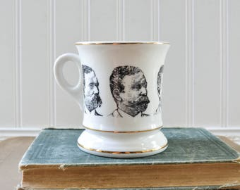 Vintage Man Mustache Mug with Men's Faces - Ceramic Shaving Cup
