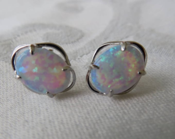 Sterling Silver Opal Earrings, Pierced Opal Earrings, Opaline Earrings, Opal Jewelry