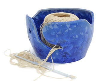 Blue Crystal Glazed Yarn Bowl, Knitting Bowl,Crochet Bowl, Gift for Knitter