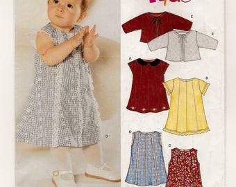 A Sleeveless/Short Sleeve Dress and Tied Jacket Sewing Pattern for Babies: Uncut - Sizes Newborn-S-M-L Weight 7 lb. - 24 lb. ~ New Look 6330