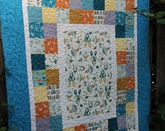 Nerdy Robots and Rocketships Gender Neutral Baby Quilt with Stuffed Puppy Toy // Baby Gift // Gifts for Babies