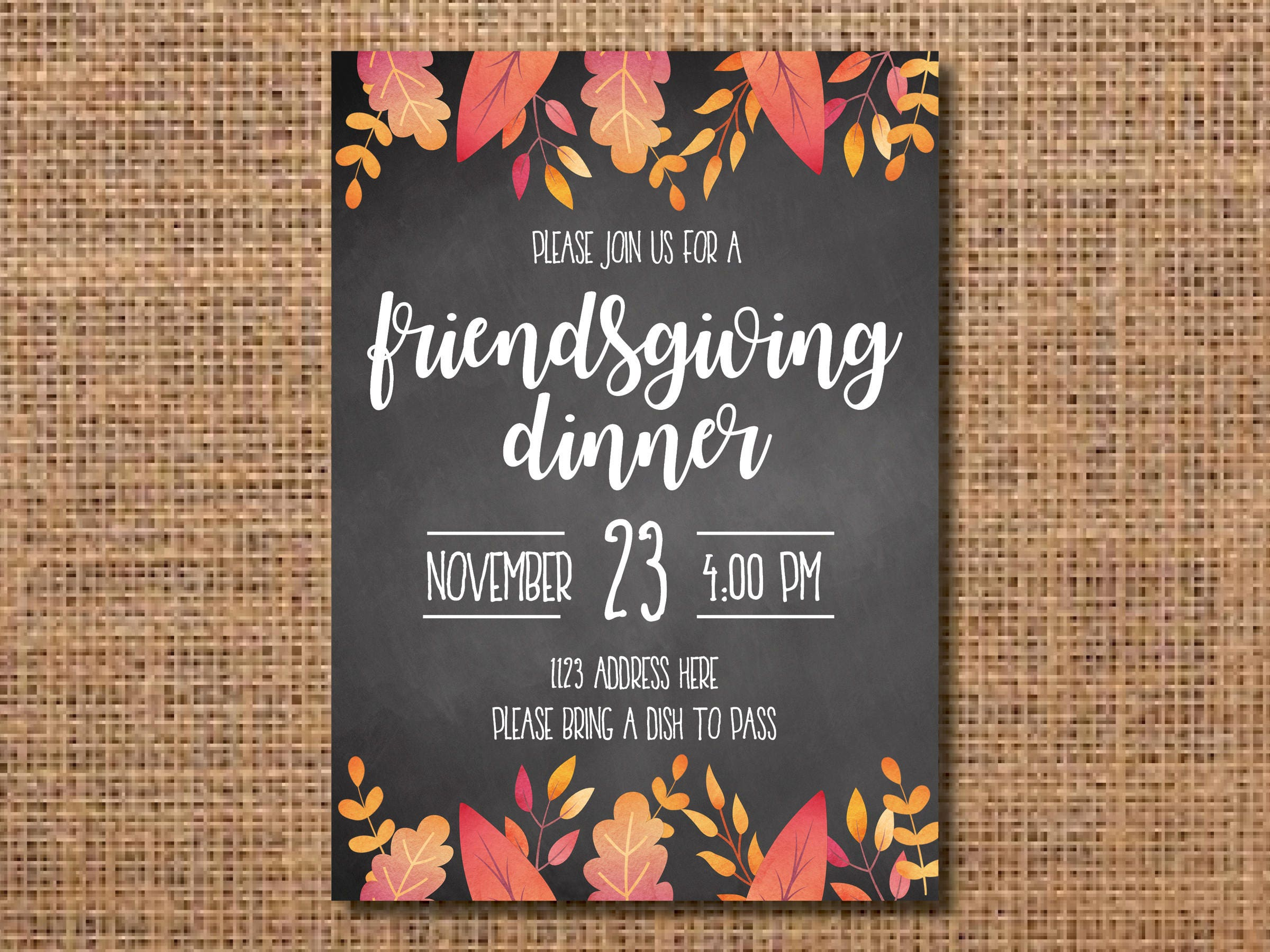 Friendsgiving Invitation, Thanksgiving Invitation, Friendsgiving ...