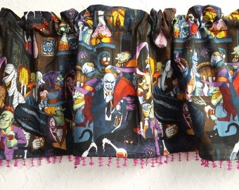 Unhappy Hour Haunted Halloween Kitchen Valance with sequin trim