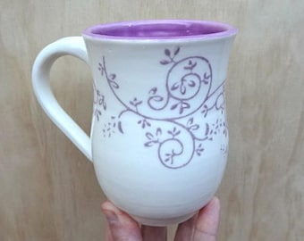 Handmade ceramic mug. Wheel thrown coffee cup. White porcelain mug with purple detail. Unique coffee mug.