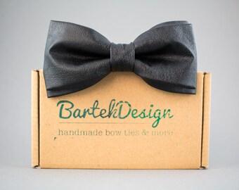 Black Leather Bow Tie Pre Tied Bow Tie Black Bow Tie Mens Bow Tie Gift for Men Bow Tie for Women Handmade Bow Tie Unisex Bow Tie