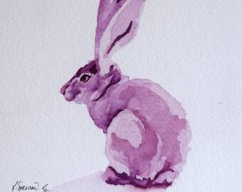 Purple violet gouache original painting of a jackrabbit mounted to cradled birch panel - original art