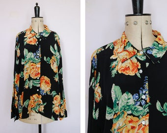 Vintage 90s rose floral rayon blouse - 90s button up shirt - 90s rayon blouse - 90s rayon shirt - 90s patterned shirt - 90s oversized shirt