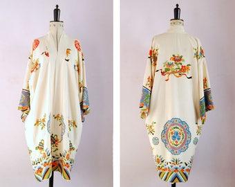 Vintage 1920s - 30s Art deco Japanese symbol silk crepe kimono - 1920s silk kimono robe - 20s Kimono - 20s flapper robe - Vintage kimono