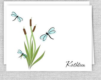Personalized Note Cards, Dragonflies and Cattails Personalized Stationery, Set of 10 Folded Note Cards
