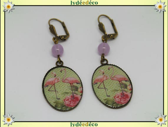 Retro earrings resin exotic Flemish pink flamingo pastel green resin beads bronze medallions 18 x 25mm