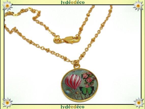 Resin necklace matinee illustration balloon Golden brass gold 24 carat 24 k rose green brown white
