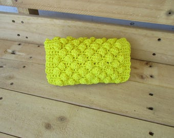 Hand knitted yellow wallet, for women, for you .