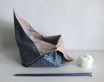 Lunch bag, Bento bag, Azuma bag, Bukuro bag, Japanese lunch bag - Navy and beige - Small