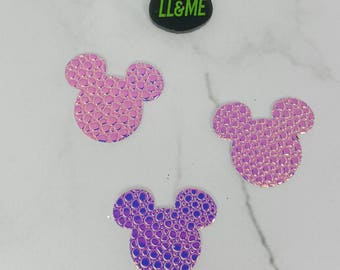 Set of 2 holographic textured mouse head stickers, sticker set, mouse party, planner sticker, laptop sticker, magic band stickers, couple