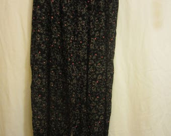 Ladies Black Floral Dress Pants