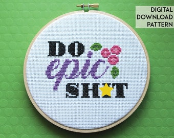 Do Epic Sh*t Counted Cross Stitch Pattern DOWNLOAD Intermediate