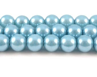 Teal Pearl Glass Beads, Faux Pearl, 8mm (FP19)