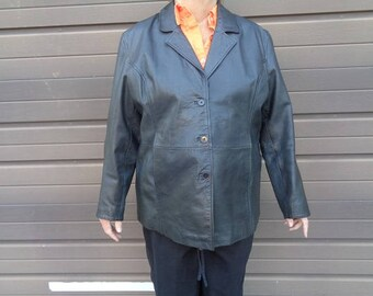 Ladies black Leather jacket coat by Blair size 18W  fall or winter coat SALE 29.95