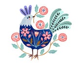 """Rooster 7 x7"""" giclee print"""