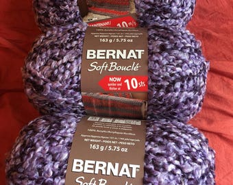 Bernat Soft Boucle Yarn-3 Skein Lot